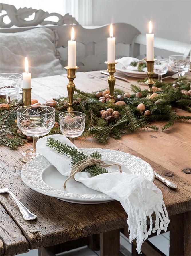 julborddekor i rustik stil