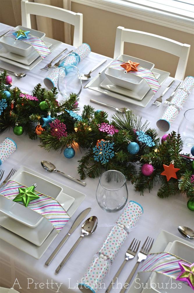 Julebordindretning i fed og smukke farver