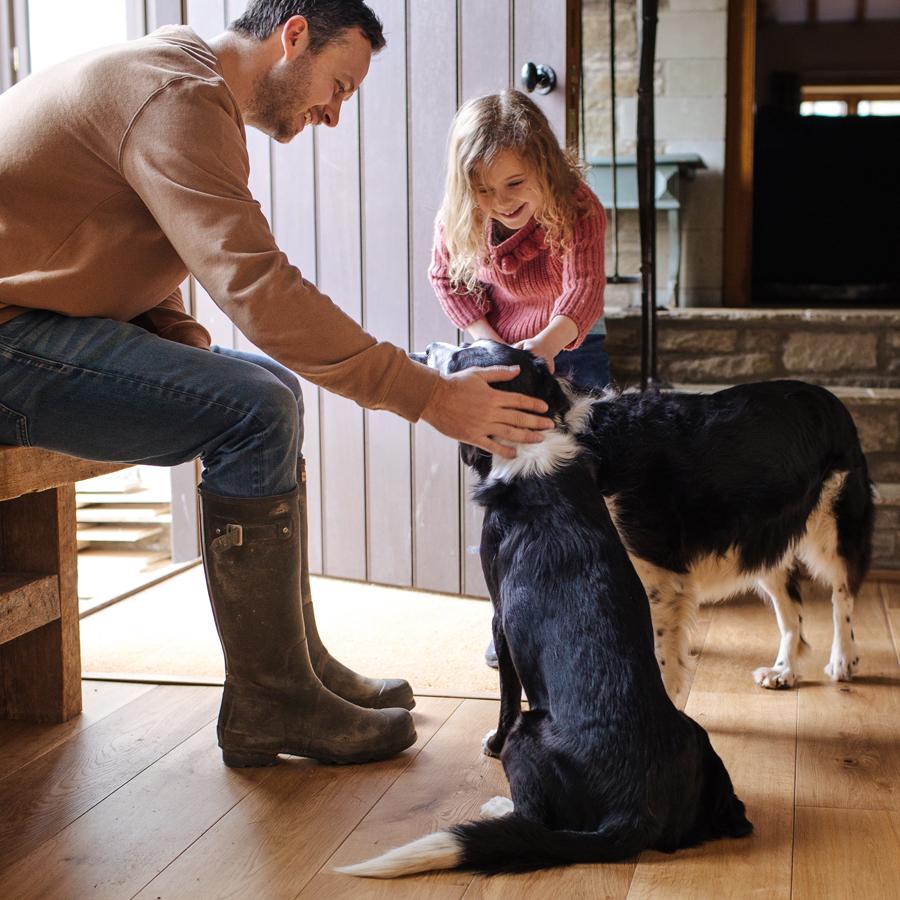 trägolv med barn och husdjur