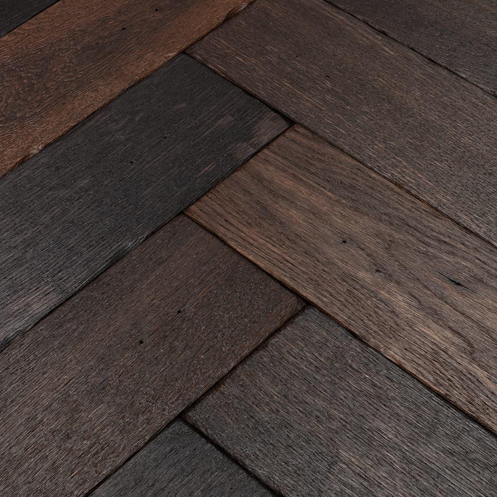 black reclaimed parquet flooring swatch
