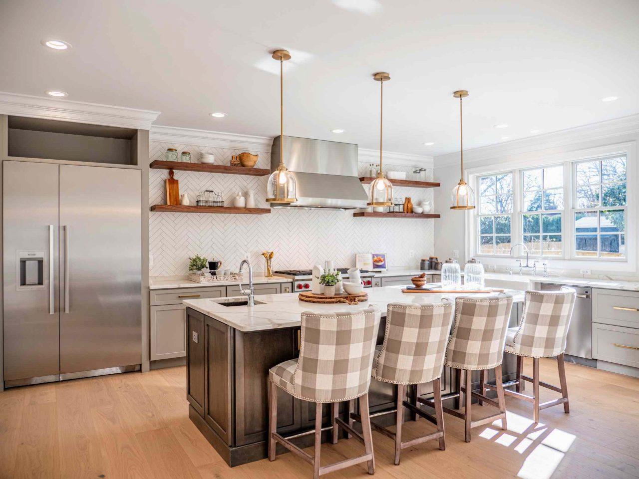 Farmhouse kitchen with engineered hardwood flooring