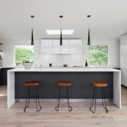 Modern kitchen with engineered hardwood flooring