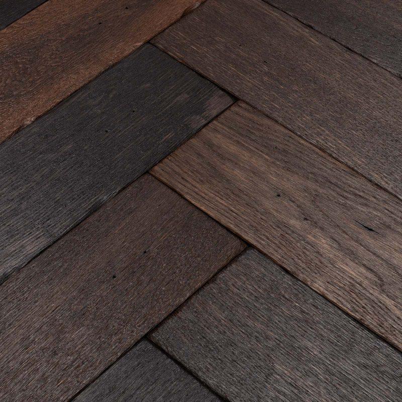 Dark engineered herringbone flooring
