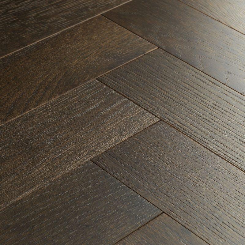 Engineered herringbone flooring Goodrich espresso oak.