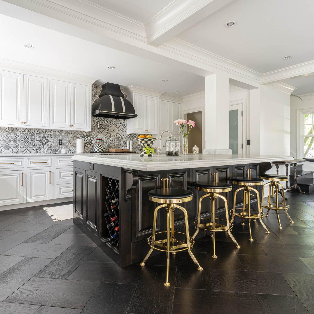 Kitchen with parquet flooring