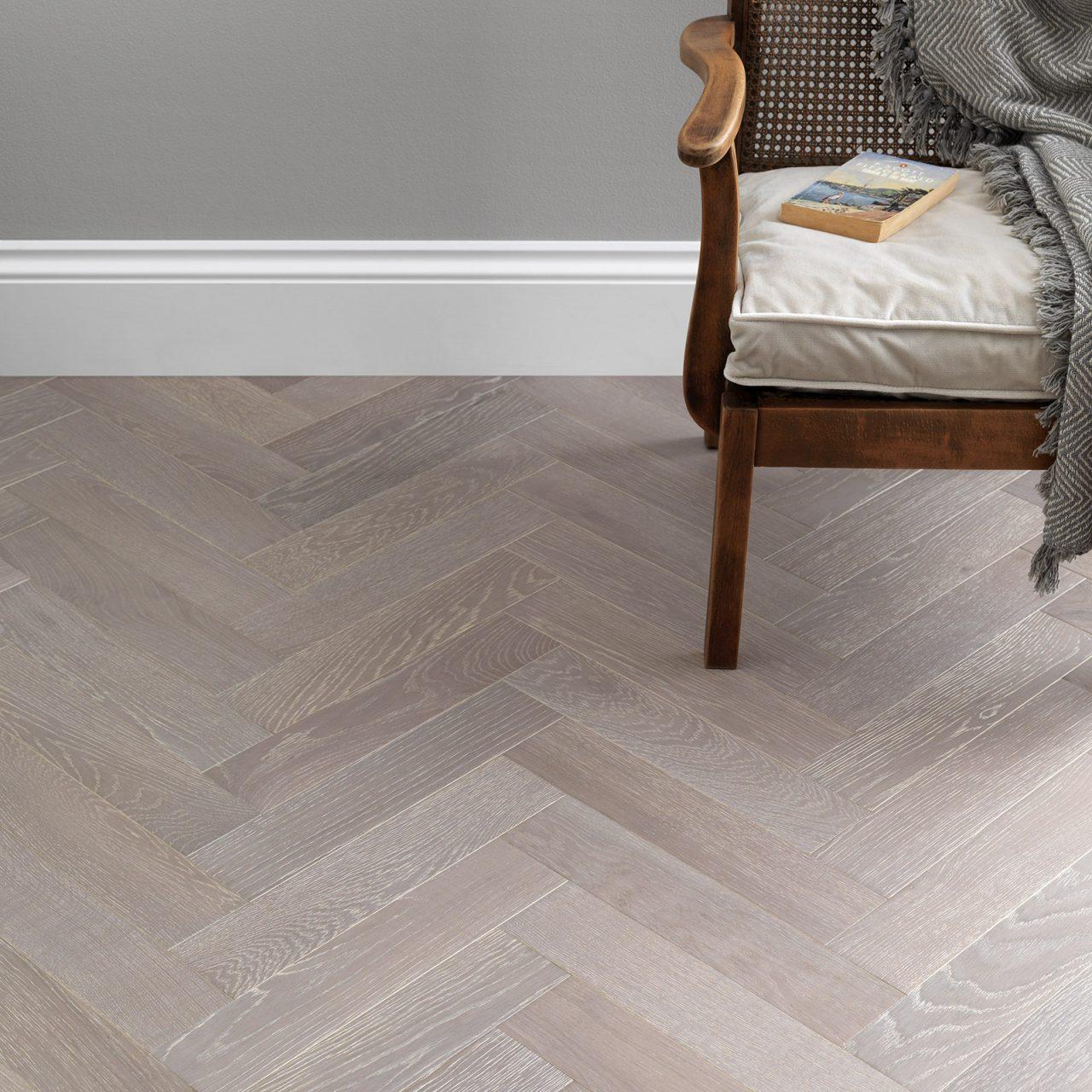 Engineered herringbone wood flooring. Goodrich Feather Oak