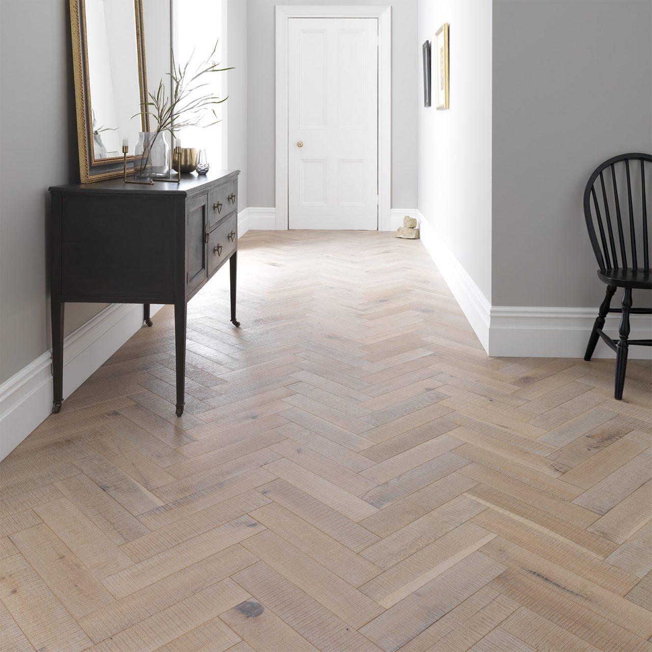 Beautiful hallway with herringbone flooring