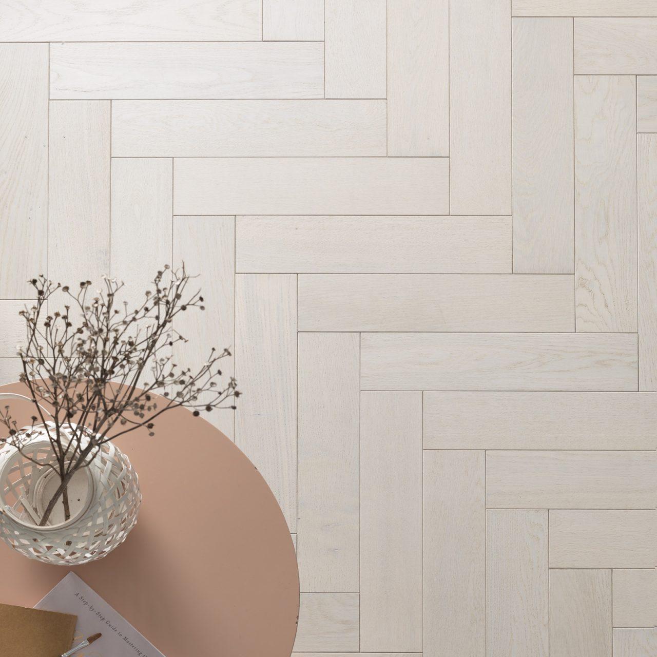 Beautiful white herringbone flooring