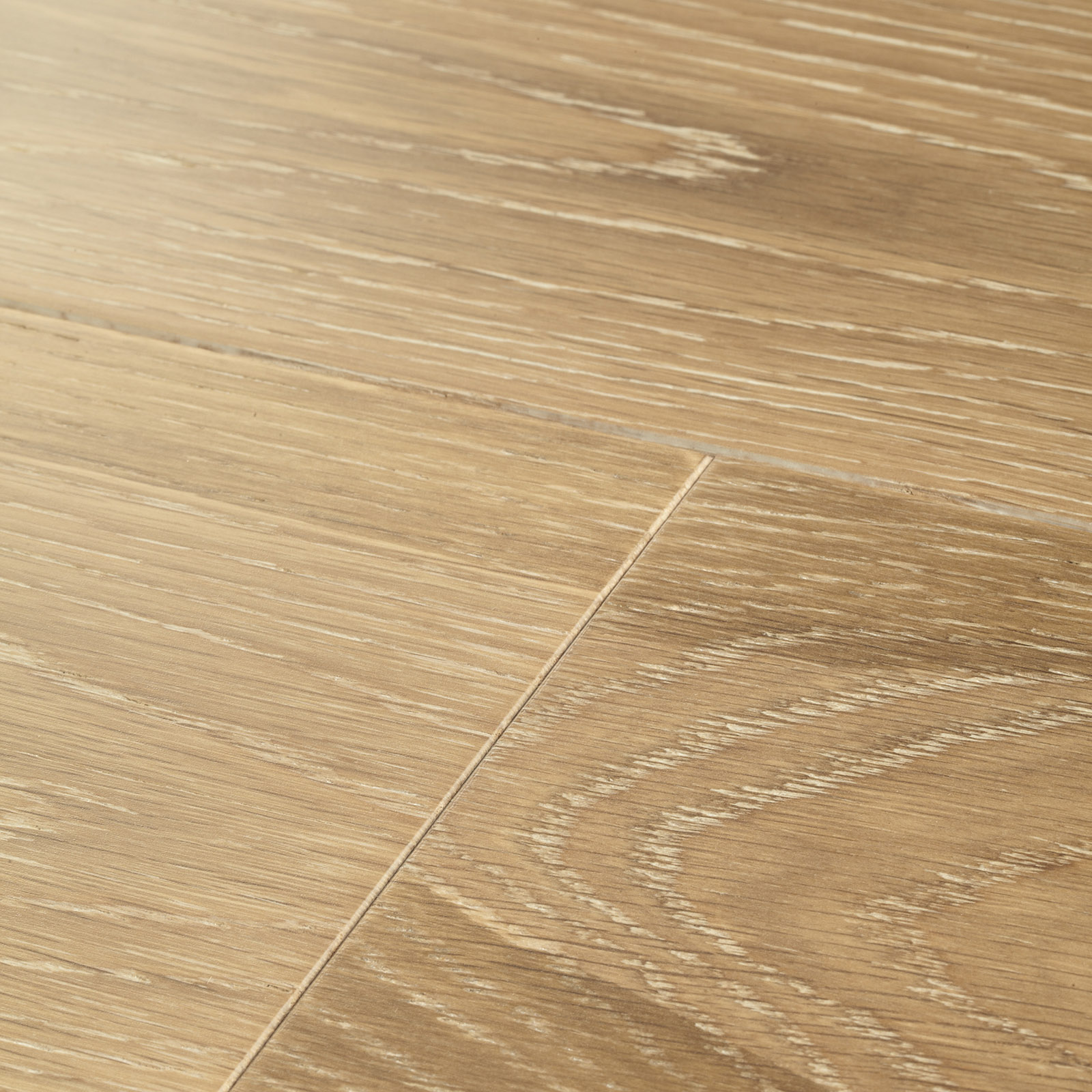 Engineered hardwood floor in white and natural tones