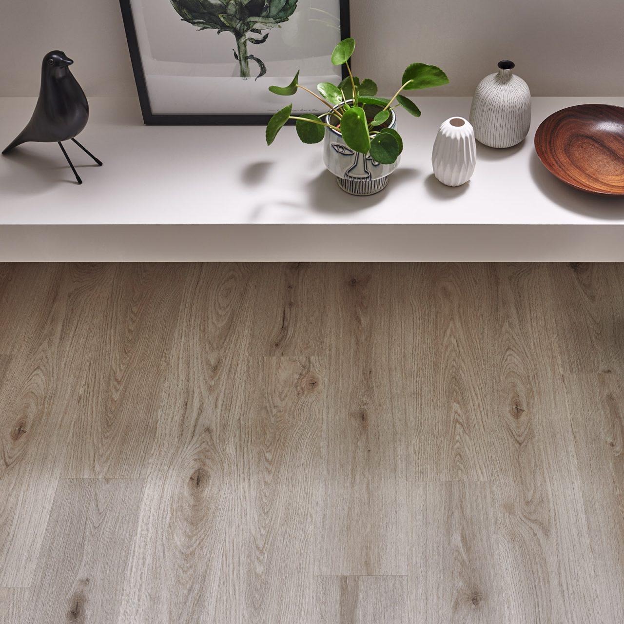 Modern room with light vinyl flooring