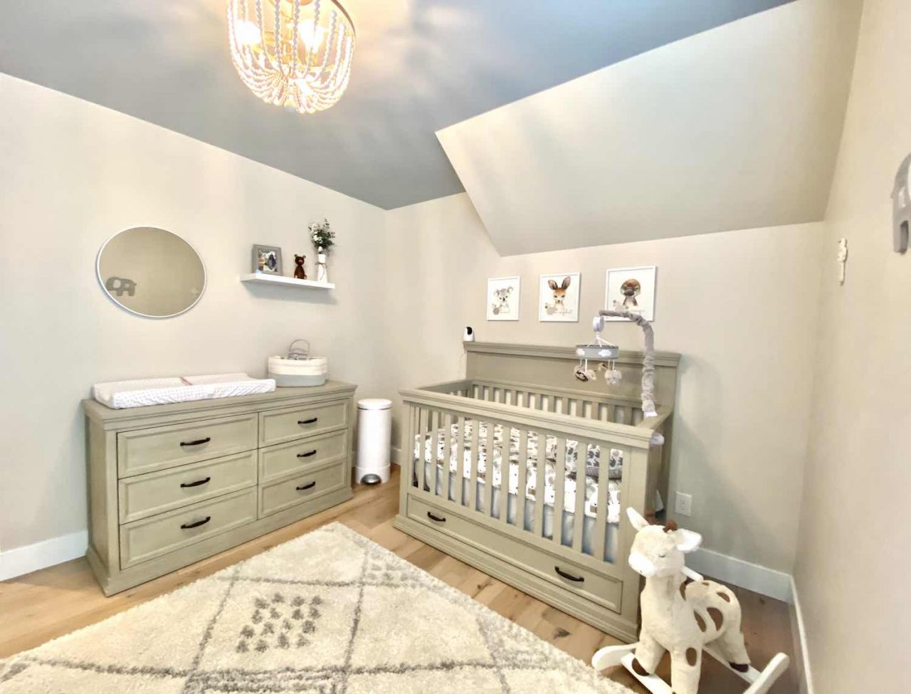 grey hardwood flooring in a nursery